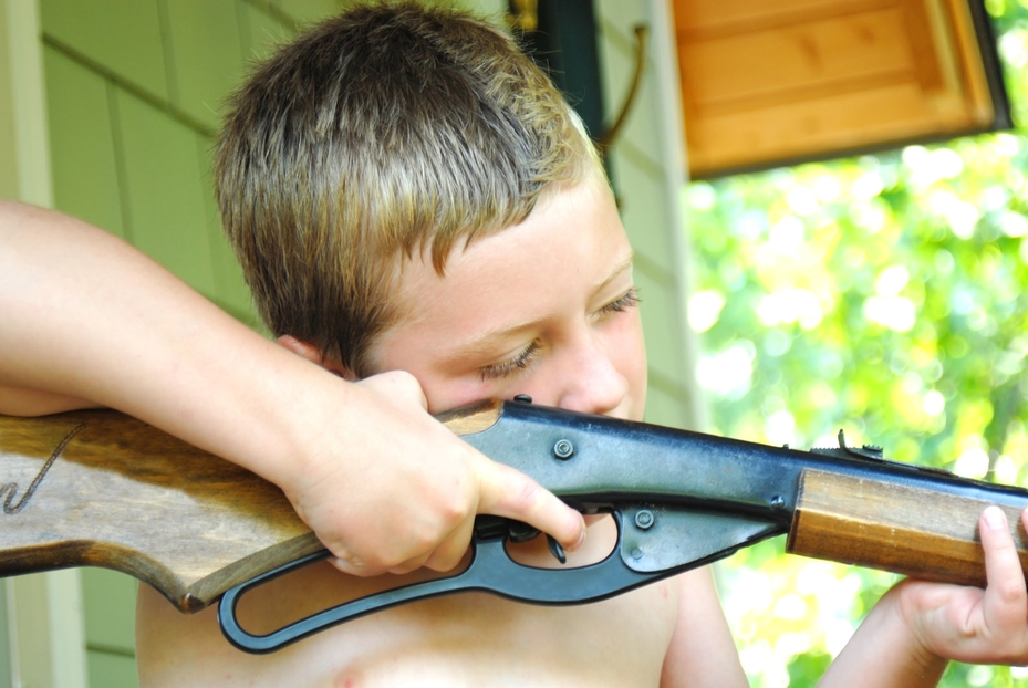 Boy Aiming His BB, Pellet Gun